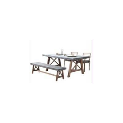 Amalfi 4 Piece Outdoor Wood Bench Dining Set