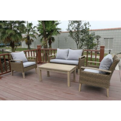 Bari 4 Piece Outdoor Wicker Sofa Seating Group with Cushions