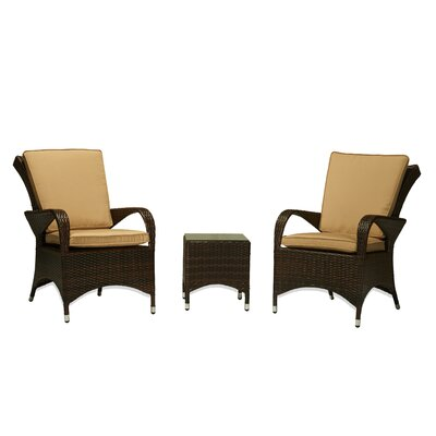 Lantis Garden 3 Piece Wicker Recliner Seating Group with Cushions