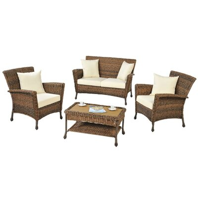 Saturn Garden 4 Piece Patio Deep Seating Group with Cushions