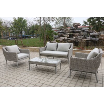 Monti 4 Piece Outdoor Wicker Sofa Seating Group with Cushions