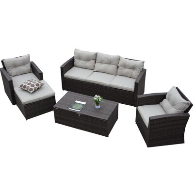 Rio Garden 5 Piece Wicker Storage Deep Seating Group with Cushions