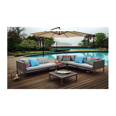 Turin 5 Piece Patio Wicker Sectional Seating Group with Cushions