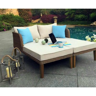 Lazio Outdoor Wicker Double Chaise Lounge with Cushions