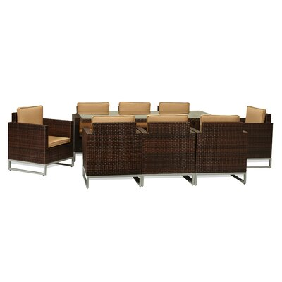 Capella 9 Piece Outdoor Wicker Dining Set with Cushions