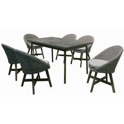 Leece Garden 7 Piece Patio Wood Dining Set with Cushions