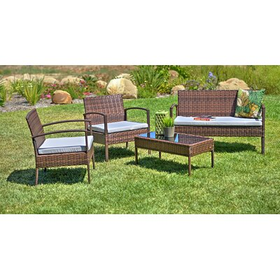 Teaset Garden 4 Piece Lounge Seating Group with Cushions Fabric: Light Gray