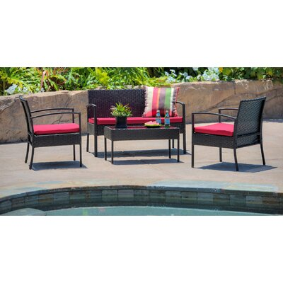 Teaset Garden 4 Piece Lounge Seating Group with Cushions Fabric: Red