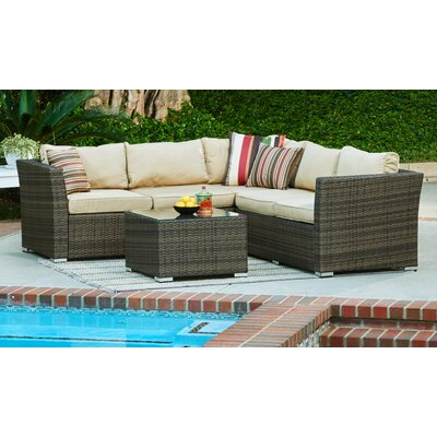 Garden 4 Piece Wicker Deep Seating Group with Cushions Frame Finish: Dark Brown