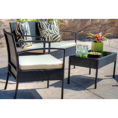 Teaset Garden 4 Piece Lounge Seating Group with Cushions Fabric: Beige