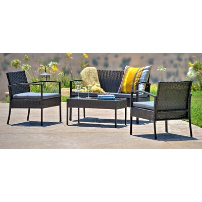 Teaset Garden 4 Piece Lounge Seating Group with Cushions Fabric: Gray