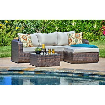 Luise 3 Piece Outdoor Wicker Sectional Seating Group with Cushions Frame Finish: Dark Brown