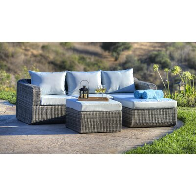 Luise 3 Piece Outdoor Wicker Sectional Seating Group with Cushions Frame Finish: Light Brown