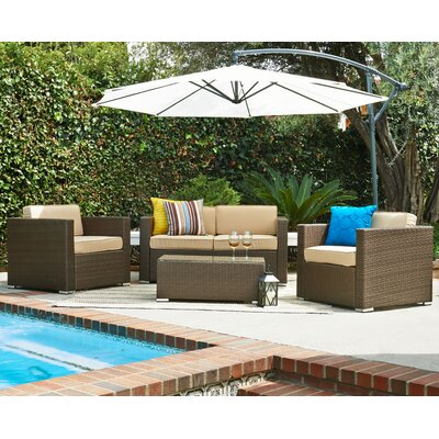 Wicker 5 Piece Patio Deep Seating Group with Cushions and Umbrella Frame Finish: Light Brown