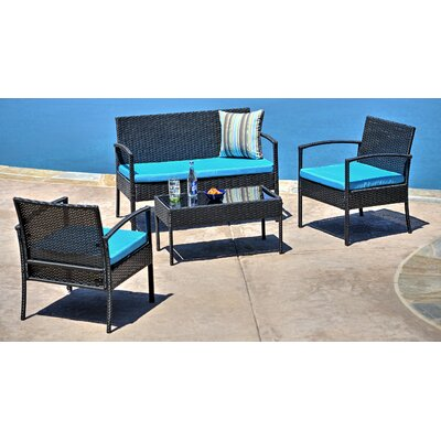 Teaset Garden 4 Piece Lounge Seating Group with Cushions Fabric: Blue