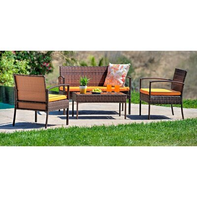 Teaset Garden 4 Piece Lounge Seating Group with Cushions Fabric: Orange