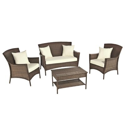 Odessa Outdoor Garden 4 Piece Lounge Seating Group with Cushions