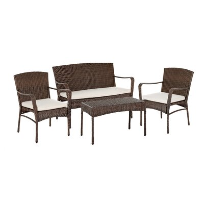 Calila 4 Piece Lounge Seating Group with Cushion