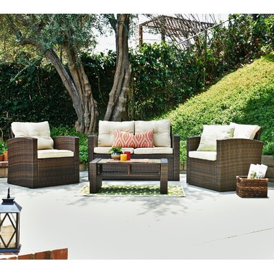 Denn 5 Piece Lounge Seating Group with Cushion