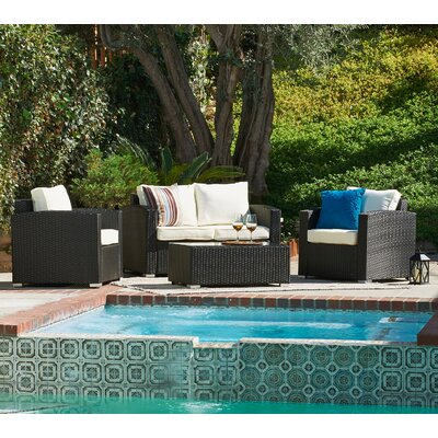 Haney 4 Piece Lounge Seating Group with Cushion