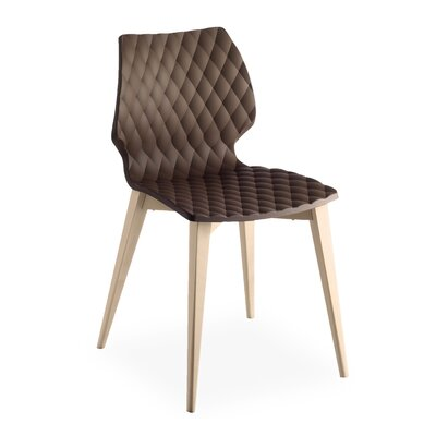 Uni PP Side Chair (Set of 2) Base Finish: Natural Beech, Upholstery: Mocha
