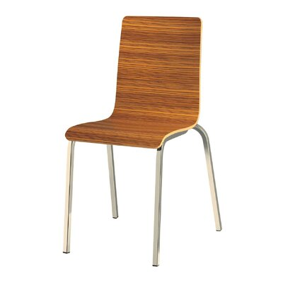 Luna Side Chair (Set of 4) Finish: Beech Wenge/Chrome