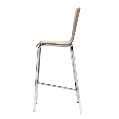 Luna 29.9 Bar Stool (Set of 2) Base Finish: Chrome, Upholstery: Natural Beech