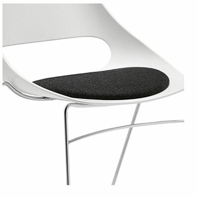Echo Armless Stacking Chair white w/black vinyl seat cushion