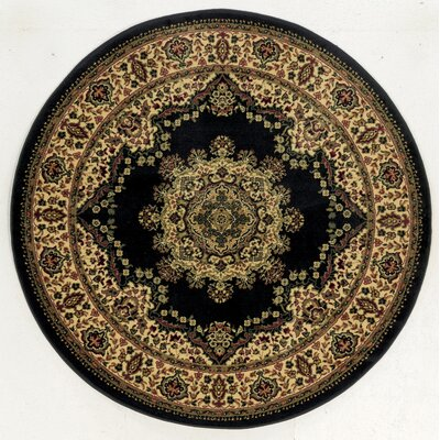 Northington Black Area Rug Rug Size: Round 53