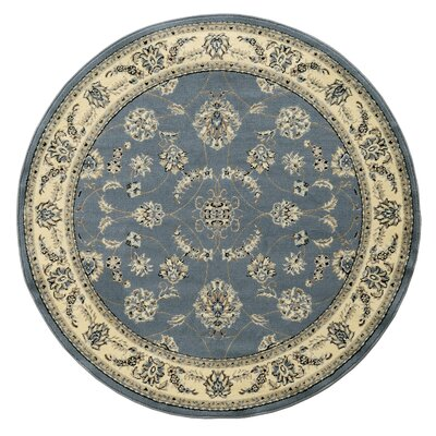 Newport Gray/Blue Area Rug Rug Size: Round 53