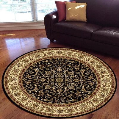 Jimtown Black Area Rug Rug Size: Round 710