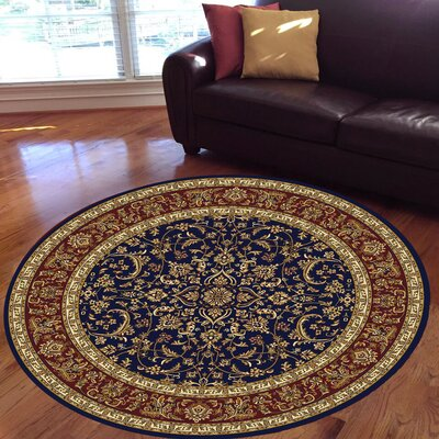 Jennings Navy/Red Area Rug Rug Size: Round 53