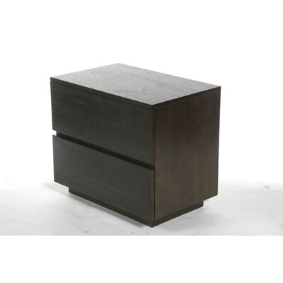 Equis 2 Drawer Nightstand Color: Mindi Dark Walnut