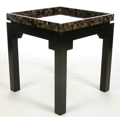 Kan Penshell Square End Table Top Color: Gray Pen Shell