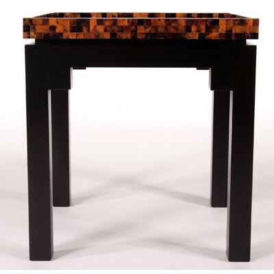 Kan Penshell Square End Table Top Color: Yellow Pen Shell