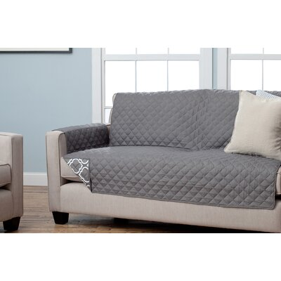 Scroll Reversible Sofa Slipcover Upholstery: Charcoal