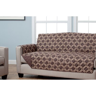 Scroll Reversible Sofa Slipcover Upholstery: Chocolate