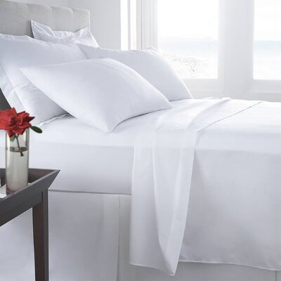 Mandalay 300 Thread Count Sheet Set Size: Queen, Color: White