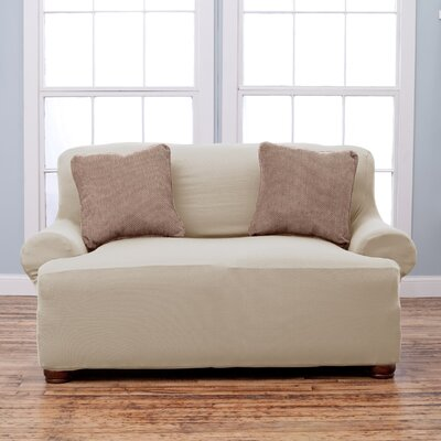 Lucia T-Cushion Loveseat Slipcover Upholstery: Ivory