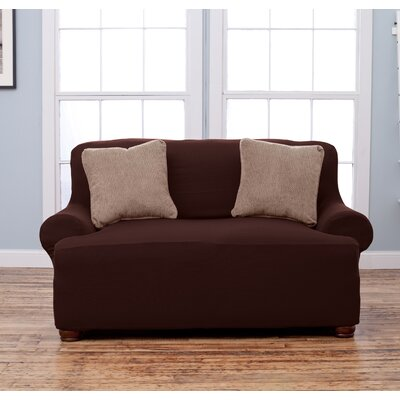 T-Cushion Loveseat Slipcover Upholstery: Chocolate