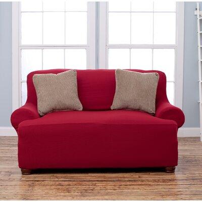 T-Cushion Loveseat Slipcover Upholstery: Burgundy