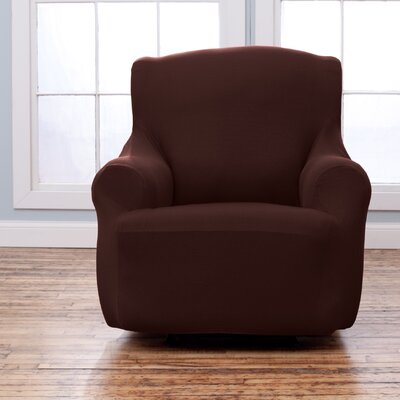 Armchair T-Cushion Slipcover Upholstery: Chocolate