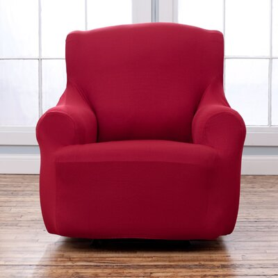 Armchair T-Cushion Slipcover Upholstery: Burgundy