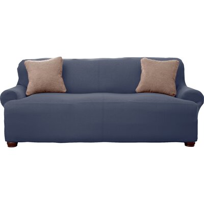 Lucia Corduroy T-Cushion Sofa Slipcover Upholstery: Slate Gray