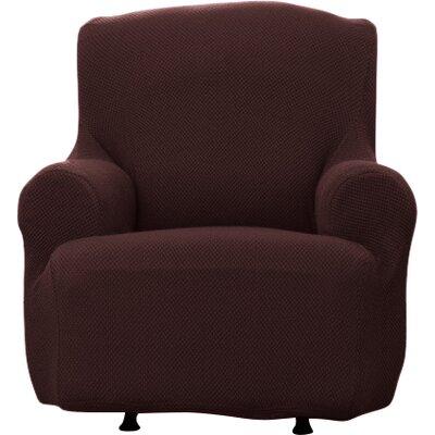 Savannah Popcorn T-Cushion Armchair Slipcover Upholstery: Chocolate