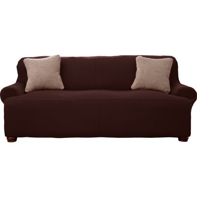 Corduroy T-Cushion Sofa Slipcover Upholstery: Chocolate