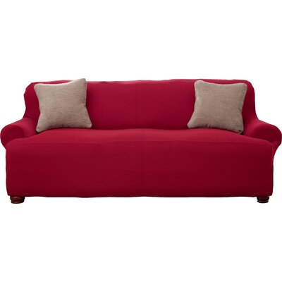 Corduroy T-Cushion Sofa Slipcover Upholstery: Burgundy