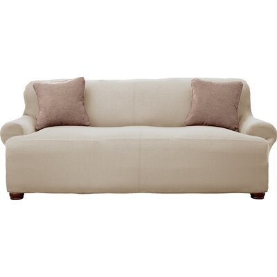 Lucia Corduroy T-Cushion Sofa Slipcover Upholstery: Ivory