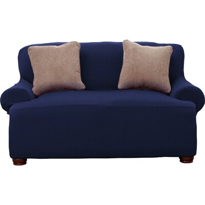 Savannah Popcorn Loveseat Slipcover Upholstery: Wine