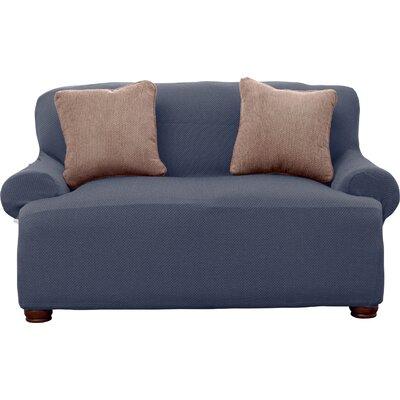 Savannah Popcorn Loveseat Slipcover Upholstery: Gray